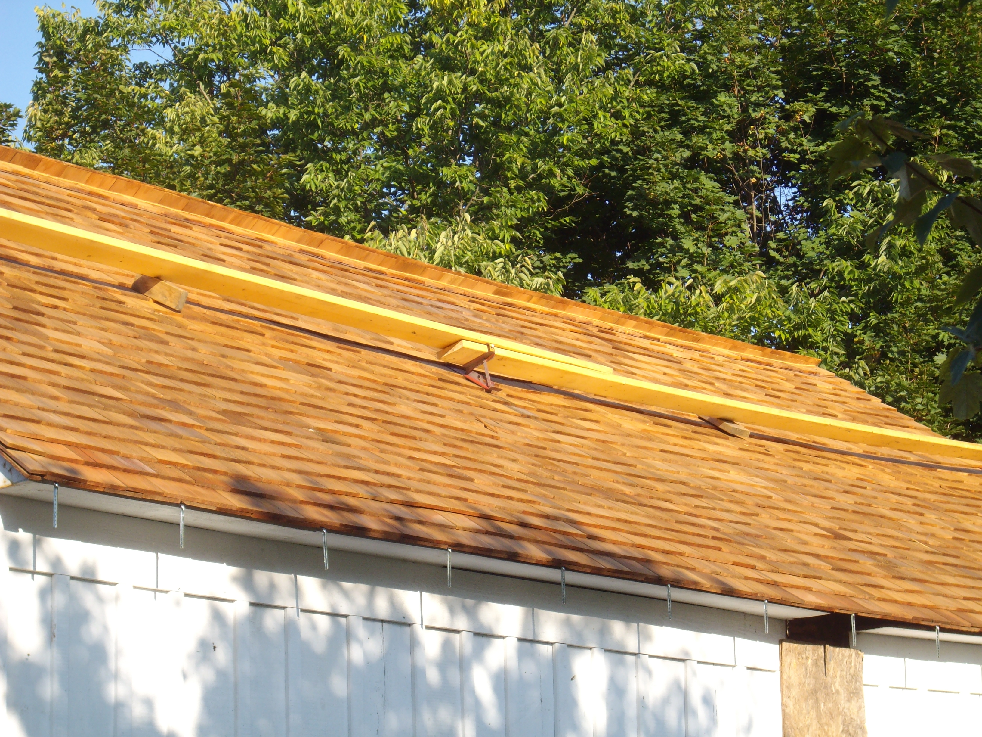 New wood shingle roof