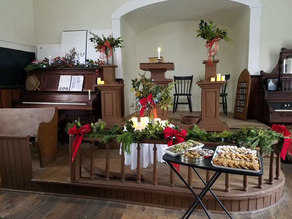 The chapel is decorated for Christmas 2017.
